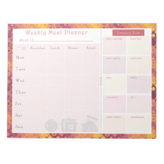 Weekly Meal Planner Autumn Retro Notepad