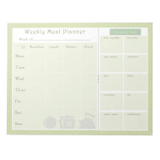 Weekly Meal Planner Green Flowers Notepad