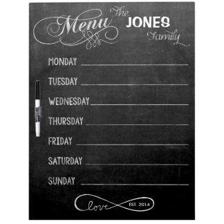 Weekly Menu Blackboard for Kitchen (Dry Erase) Dry-Erase Whiteboard