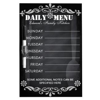 Weekly Menu Blackboard for Kitchen Dry Erase White Board