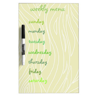 Weekly Menu Dry Erase Board