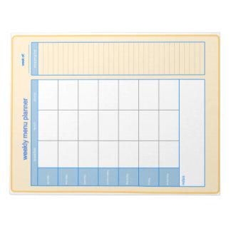 Weekly Menu Planner Notepad