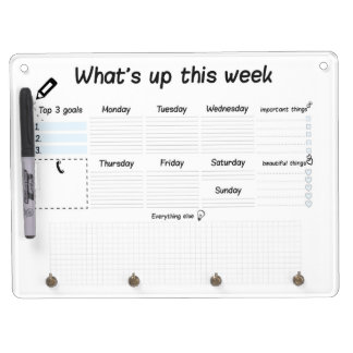 weekly planer dry erase board with keychain holder