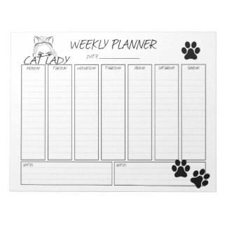 Weekly Planner Cat Lady Notepad