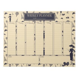 Weekly Planner Classic Vintage Fashion Notepad