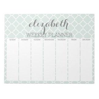 Weekly Planner Mint & Gray Quatrefoil Pattern Notepad