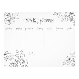 Weekly Planner monochrome hand sketch floral line Letterhead