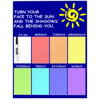 Weekly Planner on Dry Erase Board