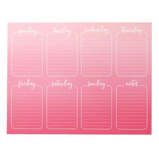 Weekly Planner Pink Watercolor Tear Away Calendar Notepad