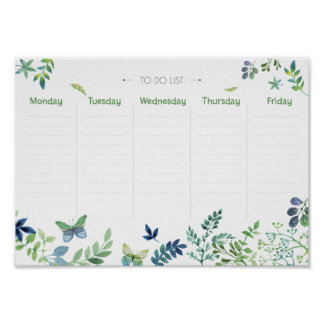 Weekly Planner to do list green watercolor floral Poster