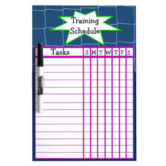 Weekly sports training schedule dry erase board