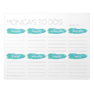 Weekly To Do List Planner | Gray and Mint Notepad