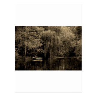 Weeping willow and boat postcard