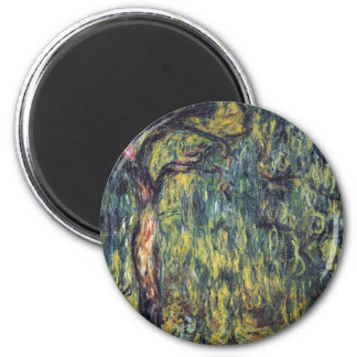 Weeping Willow by Claude Monet, Vintage Fine Art 2 Inch Round Magnet