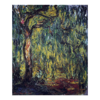 Weeping Willow by Claude Monet, Vintage Fine Art Poster