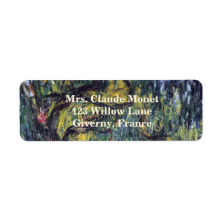 Weeping Willow by Claude Monet, Vintage Fine Art Return Address Label