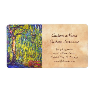 Weeping Willow Claude Monet Shipping Label
