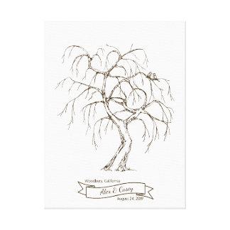 Weeping Willow Fingerprint Tree Canvas Print