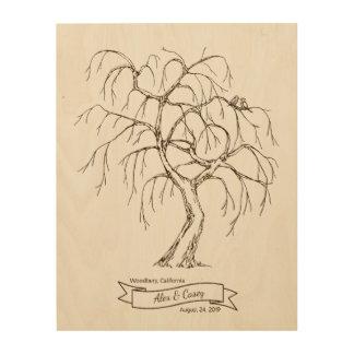 Weeping Willow Fingerprint Tree Wood Wall Decor
