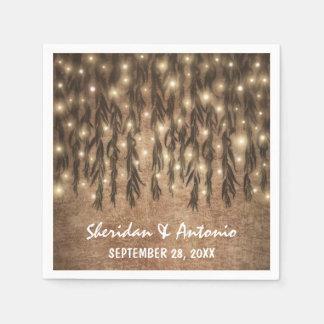 Weeping Willow Tree Branch Lights Vintage Wedding Napkin