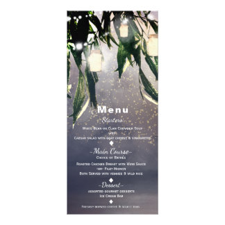 Weeping Willow Tree & Mason Jar Lights Menu Card