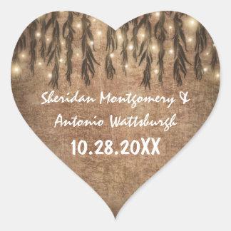 Weeping Willow Tree Vintage Wedding Favor Heart Sticker