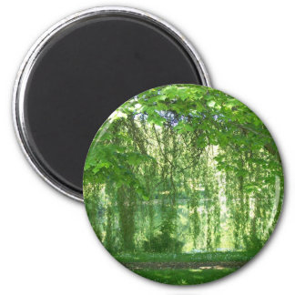 Weeping Willows with Pond 2 Inch Round Magnet