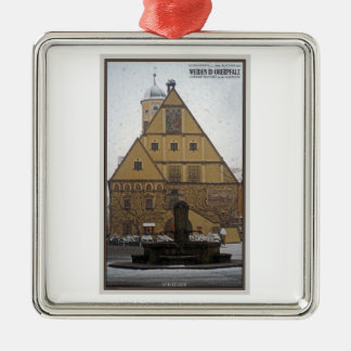 Weiden id Opf - Snowfall at the Rathaus Metal Ornament