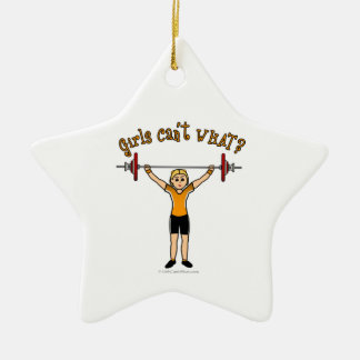 Weight Lifter (Blonde) Ceramic Star Ornament