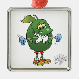 Weight lifting Avocado, on a square decoration. Silver-Colored Square Ornament