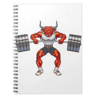 weight lifting bull 2 notebooks