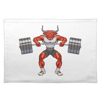 weight lifting bull 2 placemat