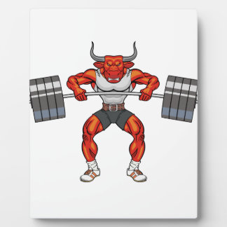 weight lifting bull 2 plaque