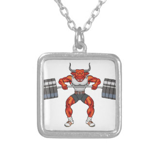 weight lifting bull 2 silver plated necklace