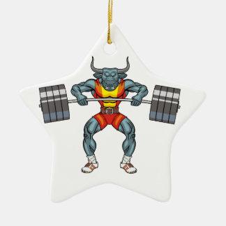 weight lifting bull 3 ceramic star ornament