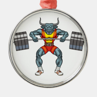 weight lifting bull 3 Silver-Colored round ornament