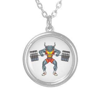 weight lifting bull 3 silver plated necklace