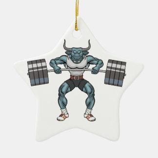 weight lifting bull ceramic star ornament