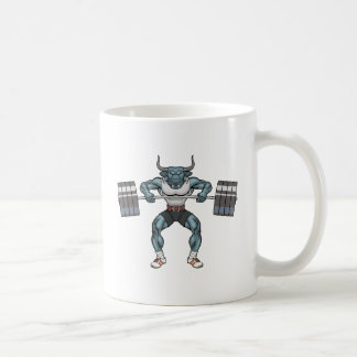 weight lifting bull coffee mug