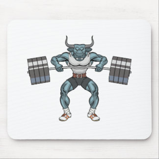 weight lifting bull mouse pad