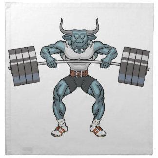 weight lifting bull napkin