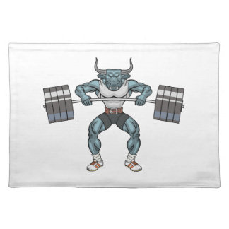 weight lifting bull placemat