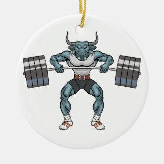 weight lifting bull round ceramic ornament