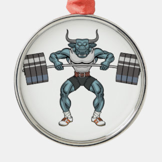 weight lifting bull Silver-Colored round ornament
