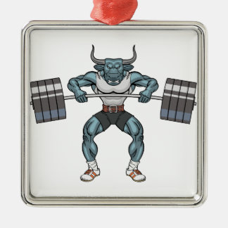 weight lifting bull Silver-Colored square ornament