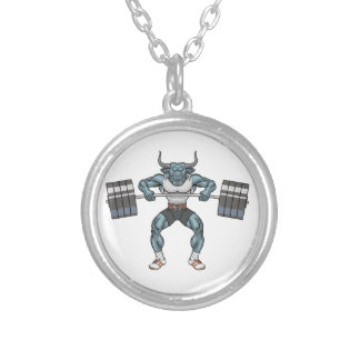 weight lifting bull silver plated necklace