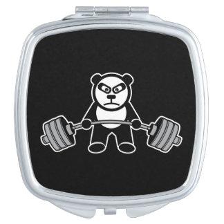 Weight Lifting Panda Bear Anime Cartoon - Workout Compact Mirrors