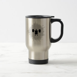 Weight Lifting Scribble Style Travel Mug