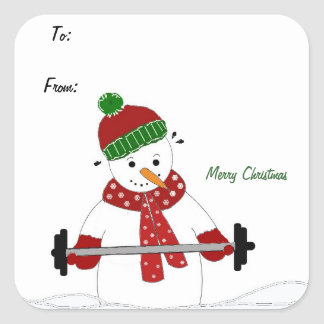 Weight Lifting Snowman Square Sticker