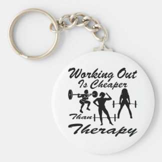 Weight Lifting Working Out Cheaper Than Therapy  3 Keychain
